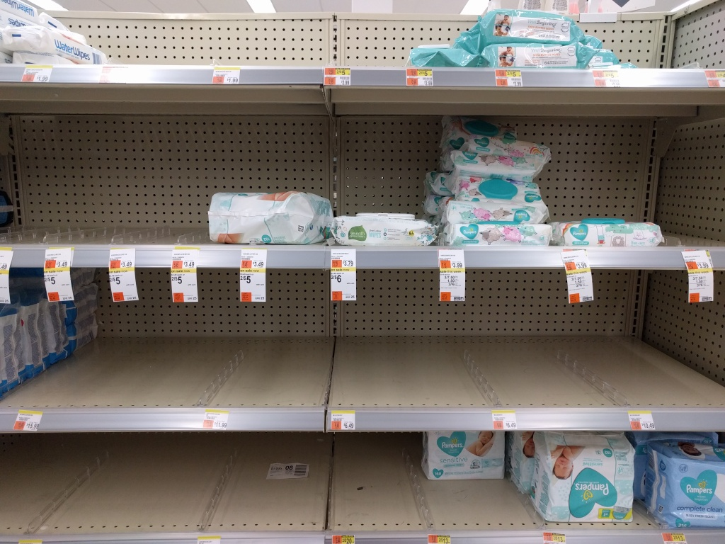 Shelves with stockouts of nappies